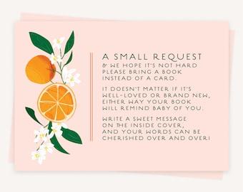 Baby Shower Book Request Inserts   Orange Citrus Baby Shower   Baby Brunch Invitations   PRINTED   0113