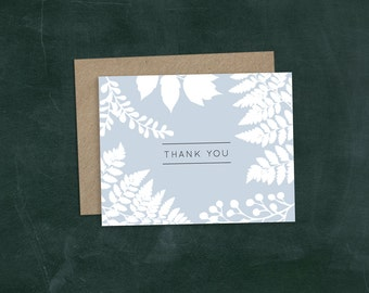 PRINTABLE Thank you card   DIY Print at home   Blue Fern   Woodsy, Forest
