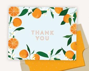 Thank You Card Set of 10 with Envelopes   Orange Citrus Thank You Cards   Orange & Blue   0111