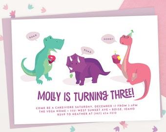Girls Dinosaur Birthday Invitation   Pink Dinosaur Party    Girls Dinosaur Party