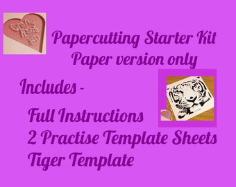 Papercutting Starter Kit - PDF version - Full Instructions for a beginner - advice on tools and getting started - Practice Template sheets