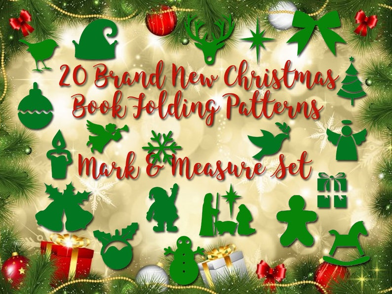 Measure /& Fold Bookfolding Patterns 20 Brand New Mark Emailed PDF files Christmas Book Folding Set