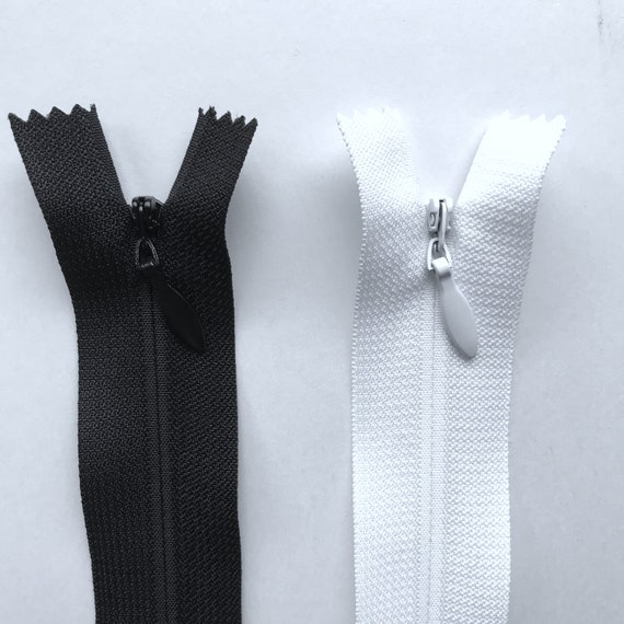 "Heavy Duty 30/"",12/"" #5 Black or White size Invisible // concealed zip"