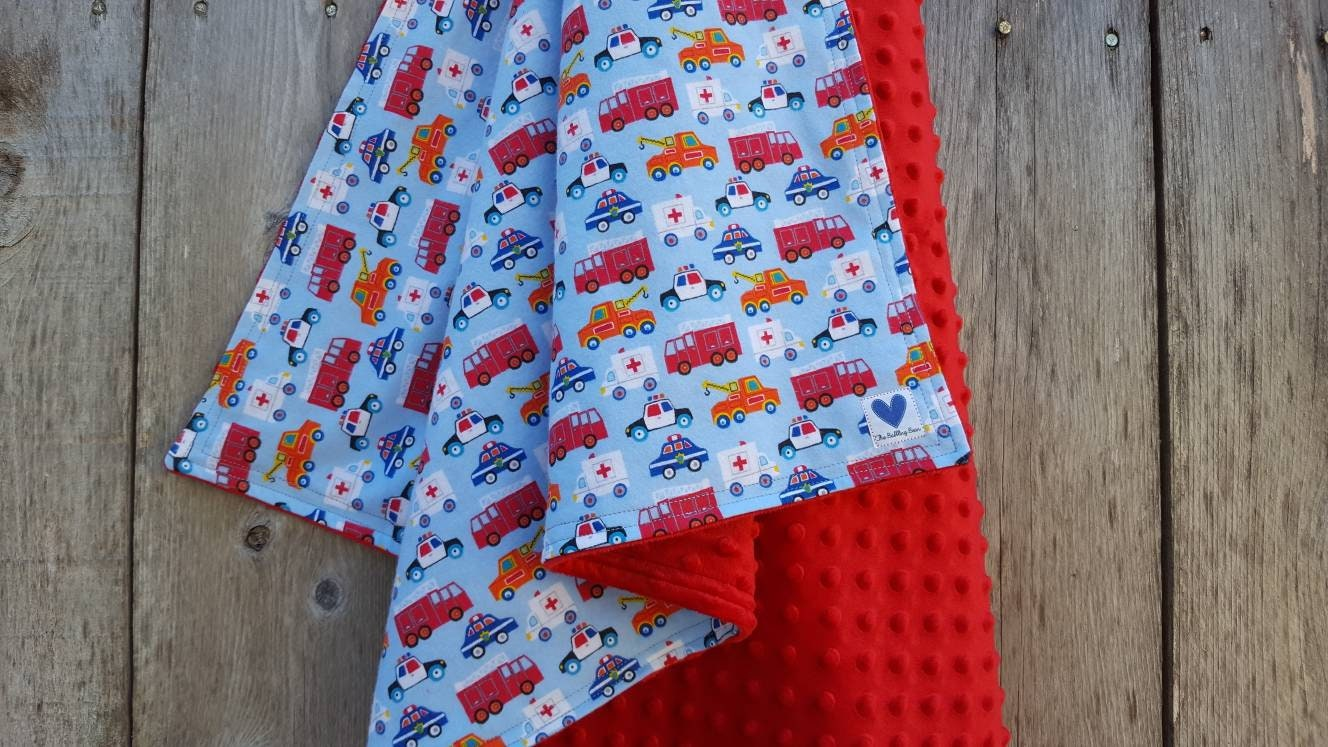 Minky Baby Blanket Rescue Trucks And Cars Flannel Baby Blanket Red Dimple Dot Minky Baby Boy Blanket Shower Gift Newborn Baby Blanket