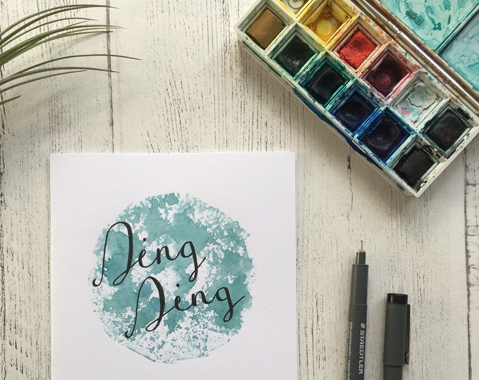Ding Ding Card ++ Wedding Card, Purple Card, Contemporary Card, Handprinted Love Card, Handlettering Card, Engagement Card