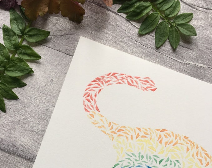 Diplodocus Rainbow Dinosaur Print ++ Rainbow Print, Dinosaur Print, Diplodocus Print, Nursery Decor, Home Decor, Dinosaur Art