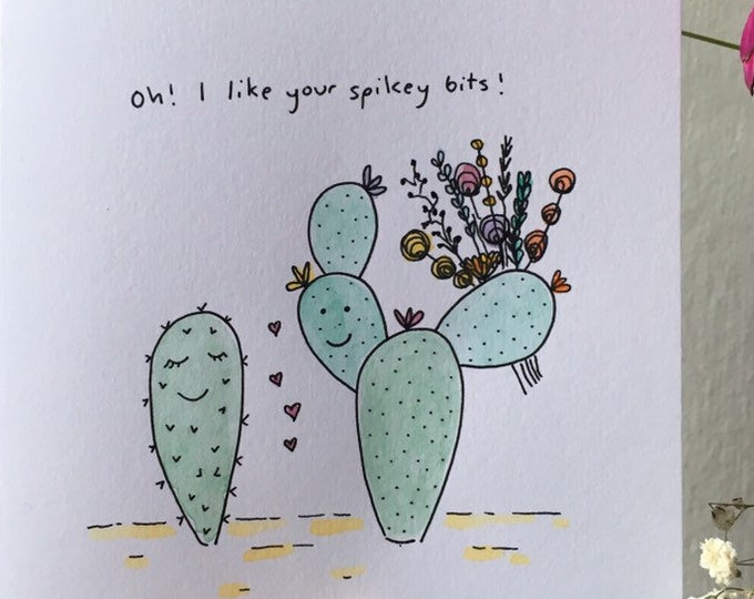 Cactus Love Card ++ Valentines Illustration, Hand Drawn Card, Valentines Card, Love Card, Lovely Card, Cactus Illustration, Cactus Card