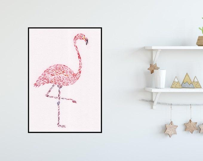 Pink Flamingo Watercolour Print ++ Animal Print, Animal Artwork, Flamingo Print, Original Artwork, Contemporary Art, Nursery Print, Bird