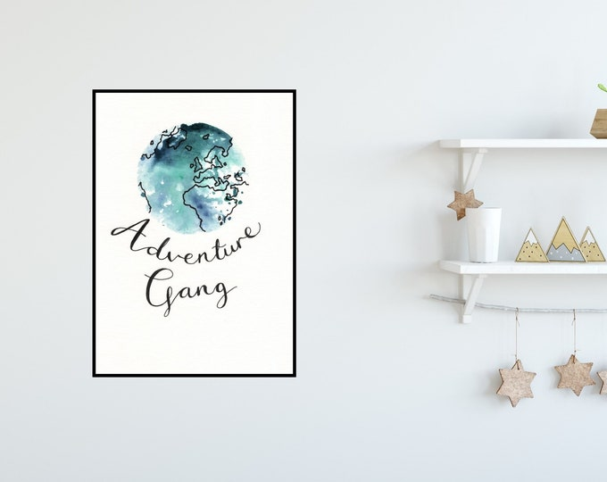 Adventure Gang Watercolour Print ++ Watercolour Print, Adventure Illustration, Adventure Art, Globe Print, Home Decor, World, Wanderlust Art