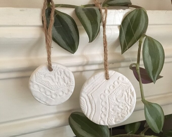 Textured Clay Decorations ++ Handcrafted christmas decoration, christmas ornament, festive decorations, handmade christmas, garland
