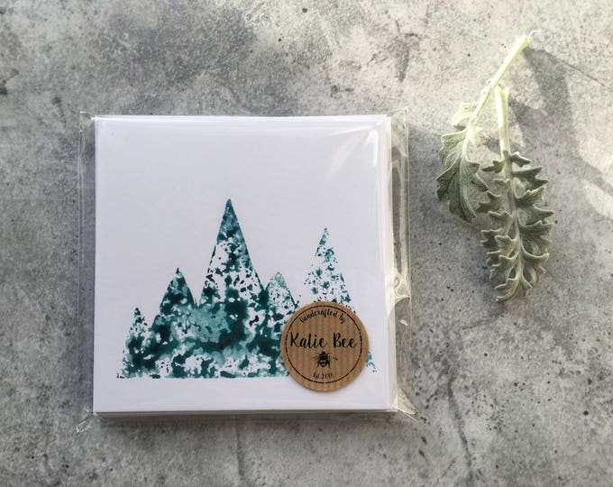 Adventure Mountains Card ++ Mountains Card, Adventure Card, Blank Card, Blue Mountain Card, Green Mountain Card, Snowy Mountain Card