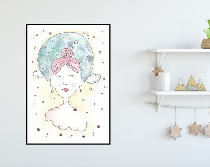 Moon Girl ++ Moon Print, Peaceful Girl Print, Colourful Print, Home Decor, New Moon Lady, Yoga Girl Print, Moon Girl Illustration