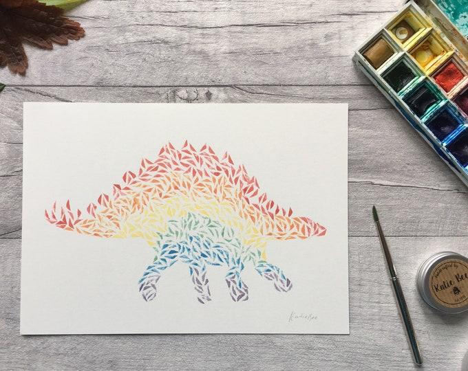 Stegosaurus Rainbow Dinosaur Print ++ Rainbow Print, Dinosaur Artwork, Dinosaur Print, Stegosaurus Print, Nursery Print, Art Print