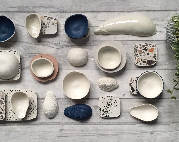 Porcelain and Concrete Tiles and Dishes ++ Ceramic Art, Porcelain Dish, Ceramic Dish, Fruit Bowl, Concrete Dish, Concrete Tile, Terrazo Tile