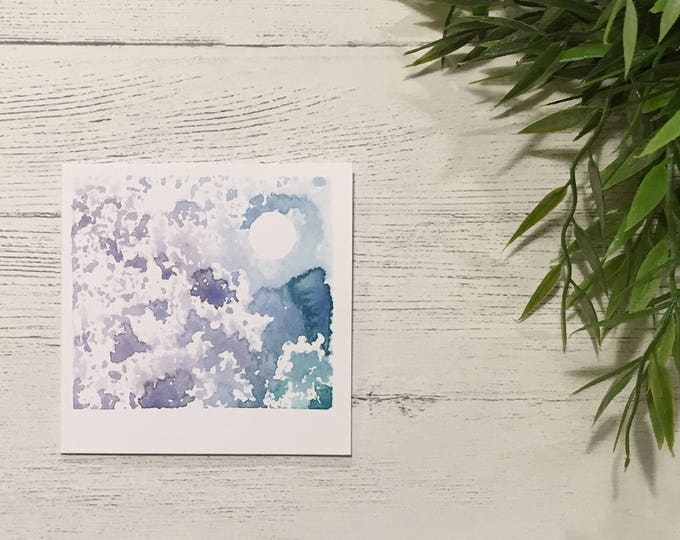 Night Sky Card ++ Full Moon, Watercolour Moon, Printed Card, Blank Card, Greetings Card