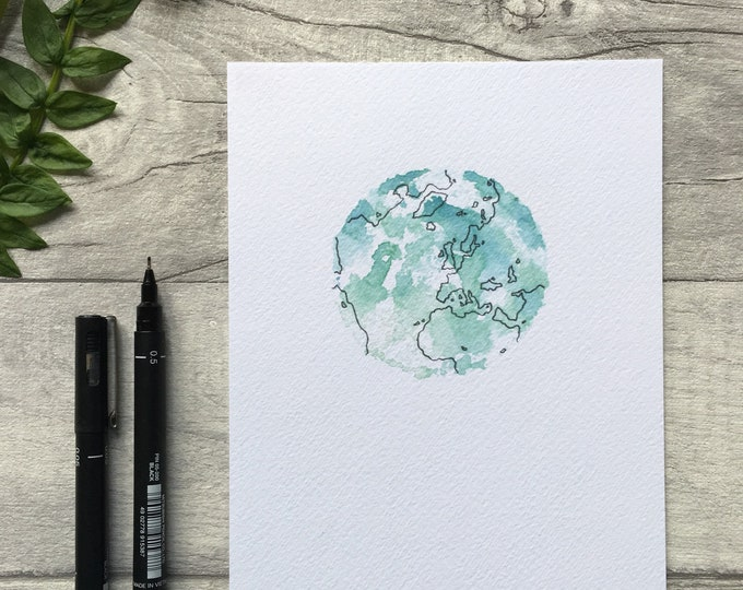 Planet Earth Watercolour Print ++ Earth Print, Planet Earth Artwork, Globe Illustration, Contemporary Art, Art Print