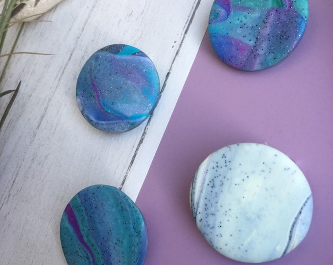 Planet Brooch ++ Galaxy Brooch, Galaxy Jewellery, Planet Accesory, Auroa Jewellery, Marble Brooch, Swirl Brooch, Clay Brooch