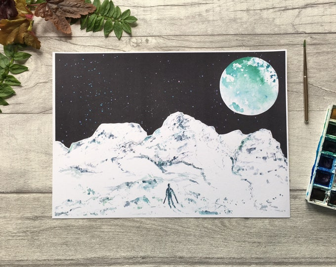 Glencoe Mountain Moon Print ++ Full Moon Print, Mountain Print, Scotland Print, Glencoe Mountain Print, Ski Snowboard Artwork