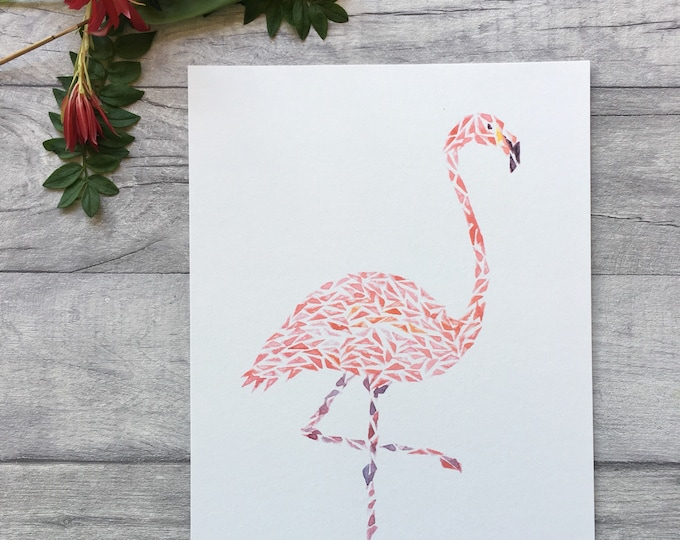 Pink Flamingo Watercolour Print ++ Animal Print, Animal Artwork, Flamingo Print, Original Artwork, Contemporary Art, Nursery Print
