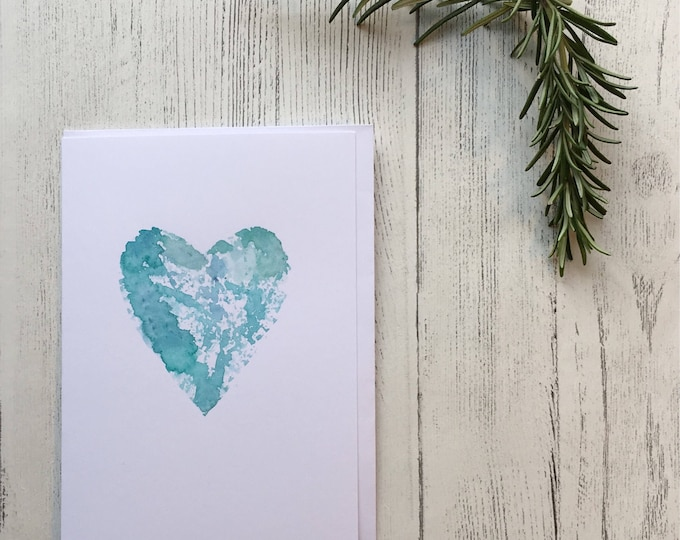 Watercolour Heart Card ++ Love Card, Handprinted Card, Watercolour Card, Engagement Card, Wedding Card, Anniversary Card