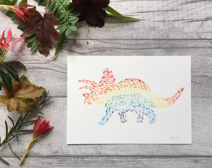 Triceratops Rainbow Dinosaur Print ++ Rainbow Print, Dinosaur Art, Triceratops Print, Nursery Decor, Kids Room Decor