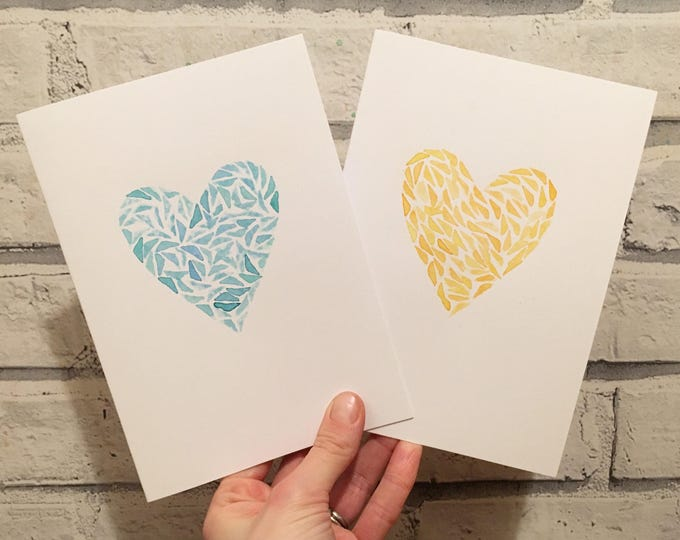 Little Love Card ++ Love Heart Card, Blue Heart Card, Yellow Heart Card, Handprinted Card, Love Card, Friendship Card