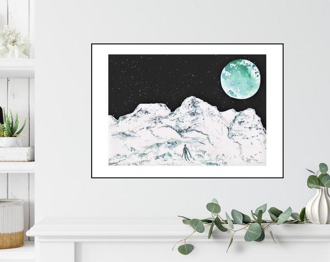 Glencoe Mountain Moon Print ++ Full Moon Print, Mountain Print, Scotland Print, Glencoe Mountain Print, Ski Snowboard Artwork