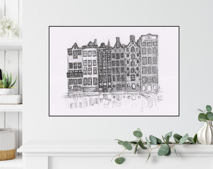 Amsterdam Print ++ Amsterdam Line Drawing, Holland, Amsterdam Illustration, Amsterdam Architecture, Amsterdam Buildings, Cute Buildings