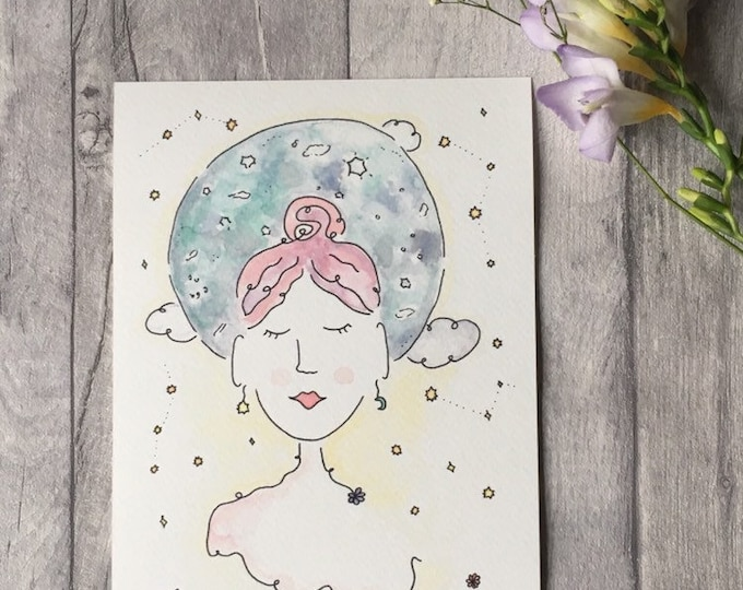 Colourful Moon Girl ++ Moon Print, Peaceful Girl Print, Colourful Print, Home Decor, New Moon Lady, Yoga Girl Print, Moon Girl Illustration