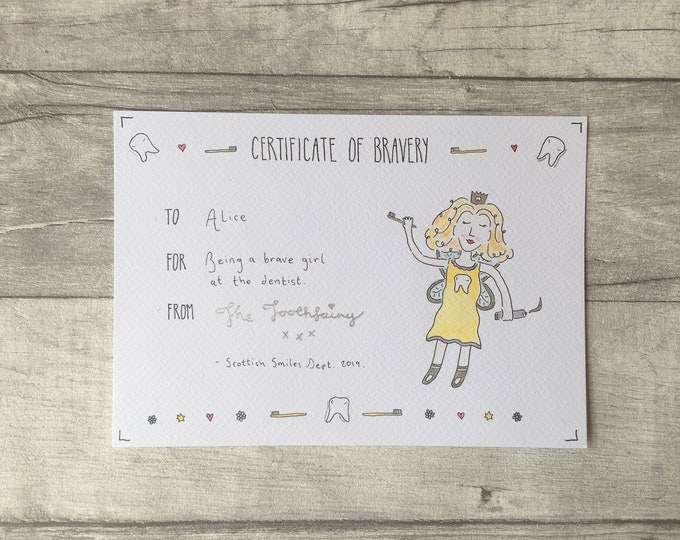 Certificate of Bravery ++ Personalised Certificate, Kids Certificate, Children's Certificate, Children's Party, Invitation, Tooth Fairy