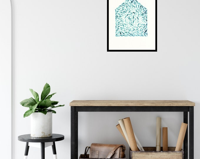 Happy New Home Print ++ New Home Gift, House Warming, Home Decor, House Print, Wall Decor, Home Styling, New Home Art