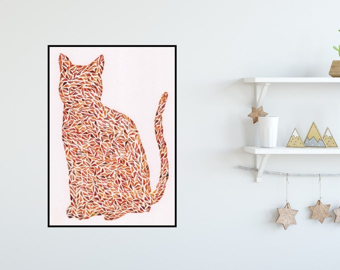 Ginger Cat Watercolour Print ++ Cat Print, Nursery Decor, Home Decor, Childrens Room, Kids Print, Childrens Print, Cat Lover, Wall Art