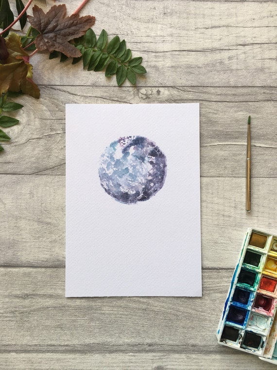 Full Moon Watercolour Print ++ New Moon Print, Night Sky Print, Full Moon Artwork, Nursery Art, Mini Print, Art Print, Yoga Moon, Yogi Print