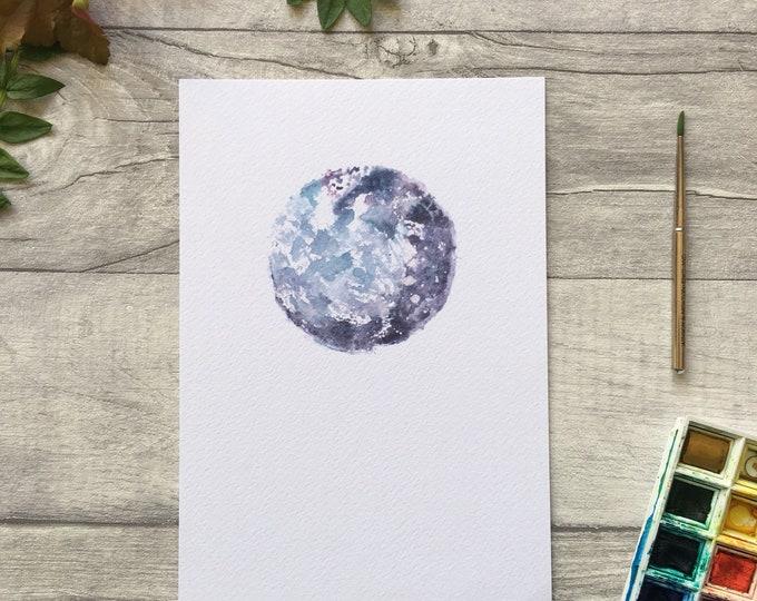 Full Moon Watercolour Print ++ New Moon Print, Night Sky Print, Full Moon Artwork, Nursery Art, Mini Print, Art Print, Yoga Moon, Yogi Print