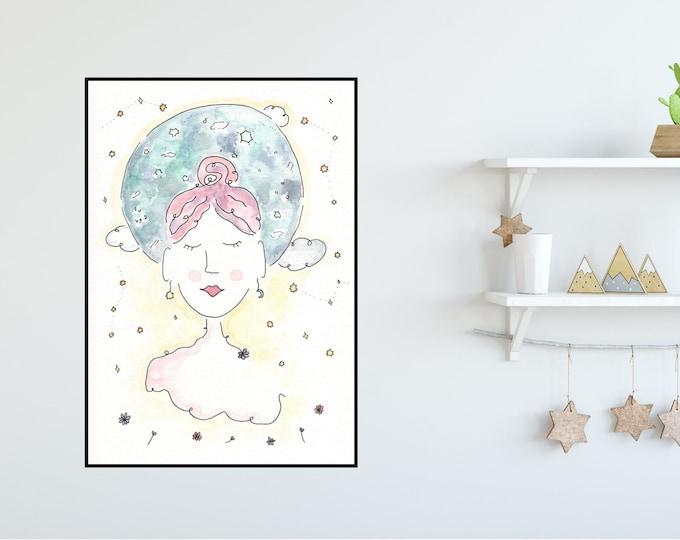 Moon Girl ++ Moon Print, Peaceful Girl Print, Colourful Print, Home Decor, New Moon Lady, Yoga Girl Print, Moon Girl Illustration
