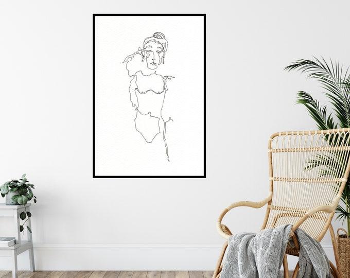 Sandra Print ++ Women Print, Empowering Women Print, Girls Print, Women Artwork, Home Decor, Girl Illustration, Woman Line Drawing, Woman