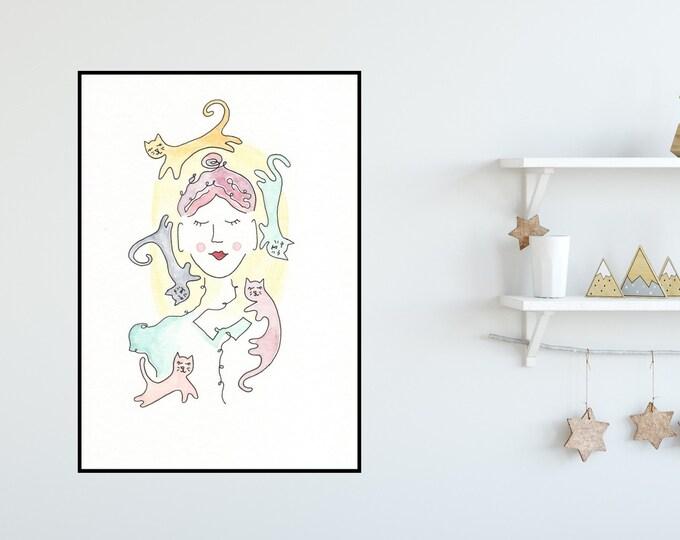 Cat Lady Print ++ Cat Print, Cat Lover Print, Colourful Print, Home Decor, Crazy Cat Lady, Colourful Cats, Cat Illustration, Wall Art