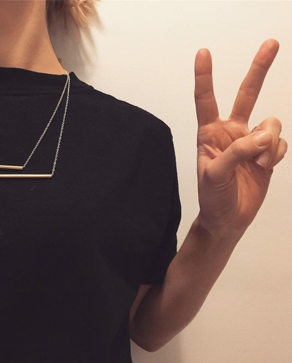 Brass Tube Necklace ++ Brass and Silver, Sterling Silver Chain, Minimalist Necklace, Contemporary Jewellery