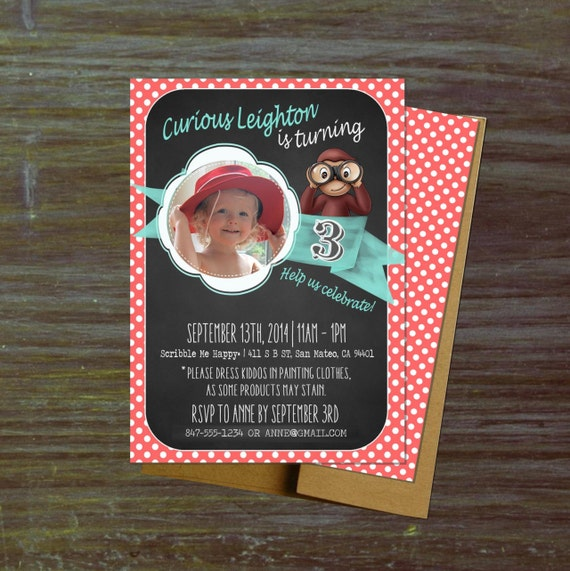 Printable Curious Monkey Birthday Invitations Photo Vintage Chalkboard George Childrens Books 1st Party Girl Boy