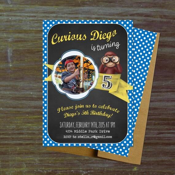 Printable Curious Monkey Birthday Invitations Photo Vintage