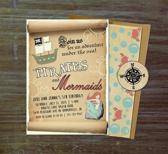 Pirates And Mermaids Party Invitations Vintage Hipster Retro Birthday Summer Pool Splash Girls Boys Coed Twins Siblings Sea Nautical
