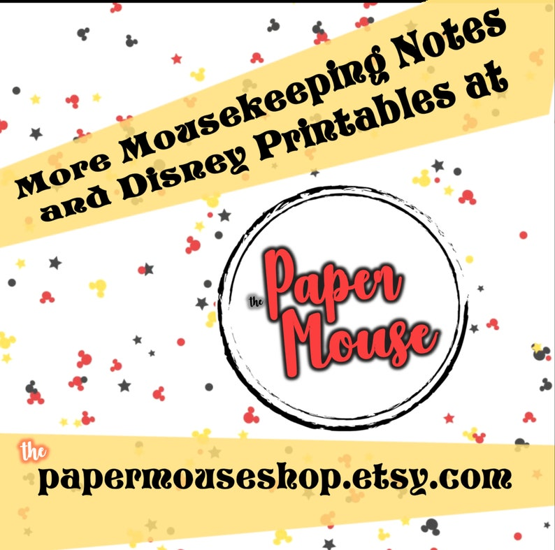 DIY Mousekeeping Envelopes { or 5x7 notes } DIY Mousekeeping Disney Vacation Tips Cards Notes Disneyland Hotel Resort California Anaheim