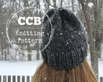 Briley Hat Knitting PATTERN // Slouchy Beanie // Chunky Knit