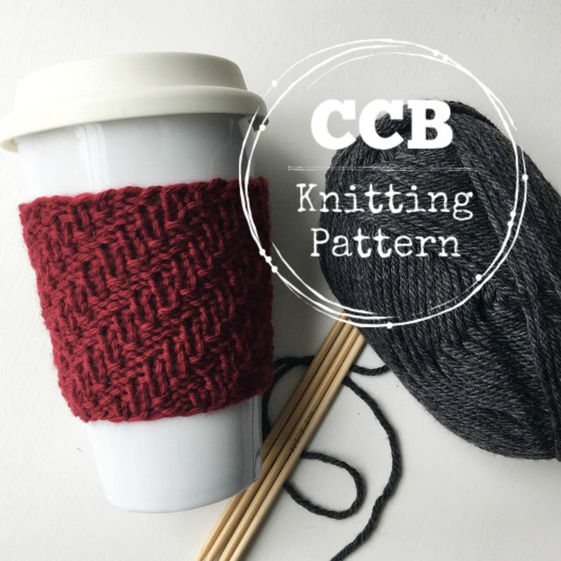 Alden Coffee Cozy / Cup Sleeve PATTERN  2 Sizes image 0