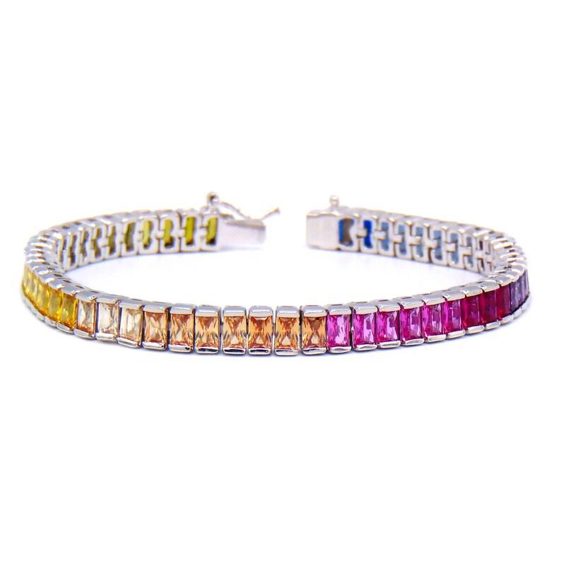 7mm Round Cut Cubic Zirconia CZ Crystal Tennis Bracelet in .925 Sterling Silver