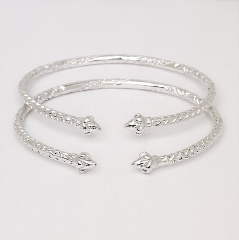 Pair Disco Ball Ends .925 Sterling Silver West Indian Bangles 78 Grams