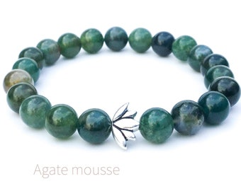 Lotus bracelet, Moss agate bracelet, Mala meditation bracelet, Natural gemstone bracelet, Yoga bracelet, Beaded bracelet, Gift for woman