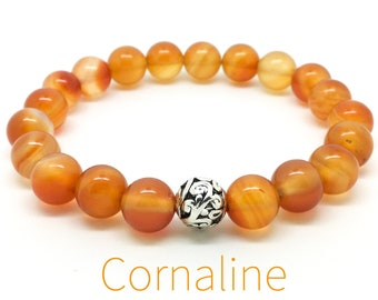 Women's carnelian bracelet, boho beaded bracelet, yoga mala beaded bracelet, gemstones stretch bracelet, gift for woman, Wildcoastjewels