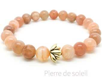 Women's sunstone bracelet, Lotus bracelet, Yoga mala beaded bracelet, Natural gemstone bracelet, Gift for woman, Wildcoastjewels
