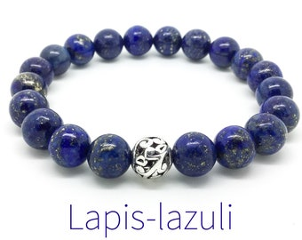 Women's lapis-lazuli bracelet, boho beaded bracelet, yoga mala beaded bracelet, gemstones stretch bracelet, gift for woman, Wildcoastjewels